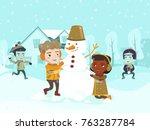 multicultural children playing... | Shutterstock .eps vector #763287784
