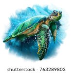 Stock photo big sea turtle watercolor painting 763289803
