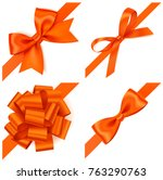 set of decorative orange bows... | Shutterstock .eps vector #763290763