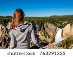 woman tourist overlooking lower ...   Shutterstock . vector #763291333