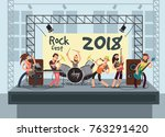 music performance on stage with ... | Shutterstock .eps vector #763291420