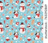 vector seamless pattern with... | Shutterstock .eps vector #763292869
