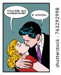 lovers embrace. stylization... | Shutterstock .eps vector #763292998