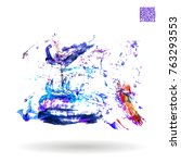 brush stroke and texture.... | Shutterstock .eps vector #763293553