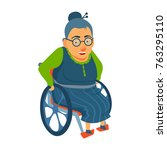 old lady  woman sitting in... | Shutterstock .eps vector #763295110
