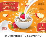 oatmeal instant with apple and... | Shutterstock .eps vector #763295440