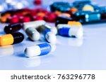 antibiotics contain blue pills  ... | Shutterstock . vector #763296778