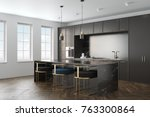 kitchen interior with a wooden... | Shutterstock . vector #763300864