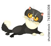 tricky animated gray cat with...   Shutterstock .eps vector #763301308
