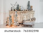 christmas decoration on ancient ... | Shutterstock . vector #763302598