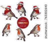 Christmas Robin. Set Of 6 Hand...
