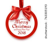 merry christmas and happy new... | Shutterstock .eps vector #763305193
