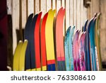 ski shop sale. rows of ... | Shutterstock . vector #763308610