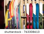 ski shop sale. rows of ... | Shutterstock . vector #763308613