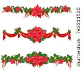 christmas garland with... | Shutterstock .eps vector #763311520