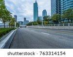city road through modern... | Shutterstock . vector #763314154