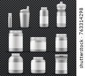 sport supplement plastic jar... | Shutterstock .eps vector #763314298