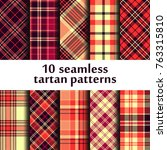 set of seamless tartan patterns | Shutterstock .eps vector #763315810