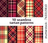 set of seamless tartan patterns | Shutterstock .eps vector #763315810