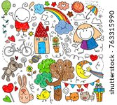 collection of cute children's... | Shutterstock .eps vector #763315990