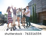 multi ethnic group of friends... | Shutterstock . vector #763316554