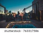 multi ethnic group of friends... | Shutterstock . vector #763317586