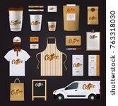 flat coffee corporate identity... | Shutterstock . vector #763318030