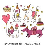 cartoon dogs on the birthday... | Shutterstock .eps vector #763327516