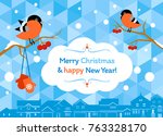 merry christmas and happy new...   Shutterstock .eps vector #763328170