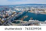 Aerial view port of Osaka City, large port city and commercial center on the Japanese island of Honshu, Osaka, Japan.