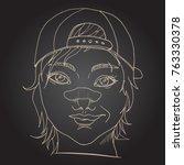 rude girl with broken nose.... | Shutterstock .eps vector #763330378