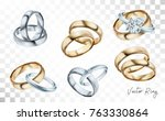 Wedding rings set of silver, gold metal with diamonds, zircons and gems on transparent background isolated vector illustration for ads, flyers, wed site sale elements design | Shutterstock vector #763330864