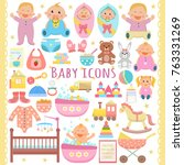 baby flat icons set.  | Shutterstock .eps vector #763331269