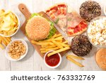 assorted fast food junk food | Shutterstock . vector #763332769