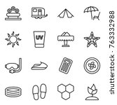 Thin Line Icon Set   Flower Be...