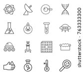 thin line icon set   atom ... | Shutterstock .eps vector #763333300