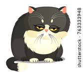 sad fat gray cat with yellow... | Shutterstock .eps vector #763333948