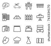 thin line icon set   brain  eco ... | Shutterstock .eps vector #763334170