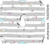 cute seamless pattern with... | Shutterstock .eps vector #763335640