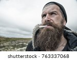 hipster with long beard hair... | Shutterstock . vector #763337068
