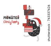 hand drawn christmas greeting...   Shutterstock .eps vector #763337626