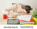 beautiful business woman work... | Shutterstock . vector #763340920
