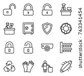thin line icon set   unlock ...