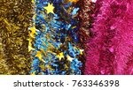 colorful christmas tinsel. new... | Shutterstock . vector #763346398