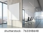 white wood office waiting area... | Shutterstock . vector #763348648