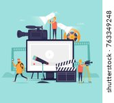 videography  shooting film in... | Shutterstock .eps vector #763349248