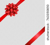 red bow isolated with gradient... | Shutterstock .eps vector #763350850