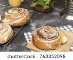 appetizing ruddy buns with... | Shutterstock . vector #763352098