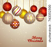 christmas and new year. vector... | Shutterstock .eps vector #763352500
