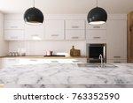 white kitchen interior with... | Shutterstock . vector #763352590